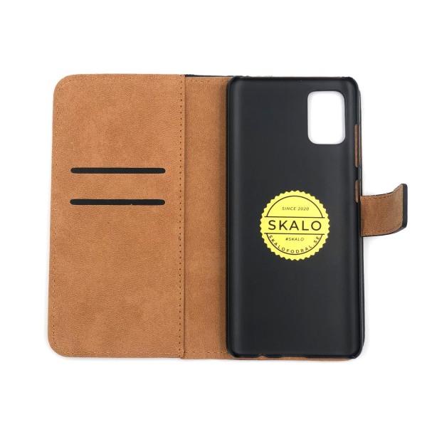 Plånboksfodral Äkta Skinn Samsung A51 - fler färger Svart
