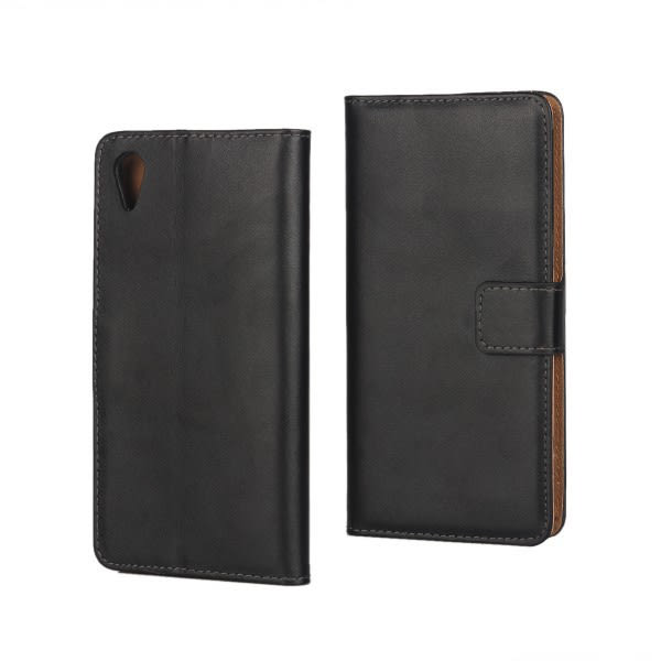 Plånboksfodral Äkta Skinn Sony Xperia L1 - fler färger Svart