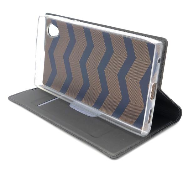 Plånboksfodral Ultratunn design Sony Xperia L1 - fler färger Mörkgrå