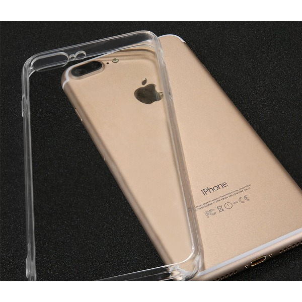 Silikon Skal Transparent + Härdat glas iPhone 8 PLUS Transparent