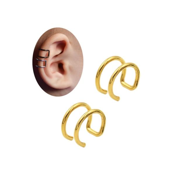 2-pack Guld Fake Piercing Öron Örhänge Ear Cuff utan Hål guld