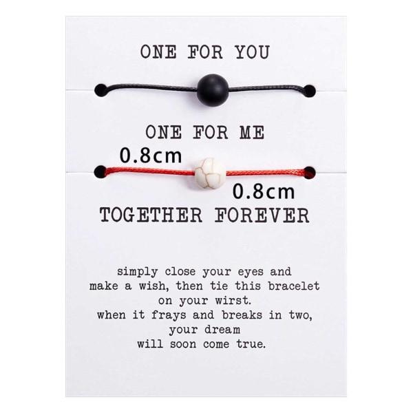 2-pack Pararmband Rep med Stenpärla Armband för Par flerfärgad