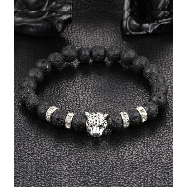 Trendigt Armband Courage Leopard Silver Svarta Lavastenar silver