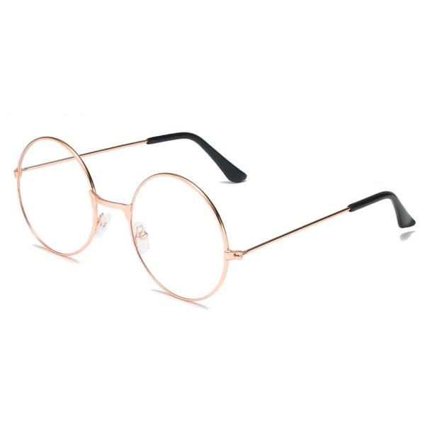 Runda Glasögon med Klart Glas utan Styrka Roséguld guld