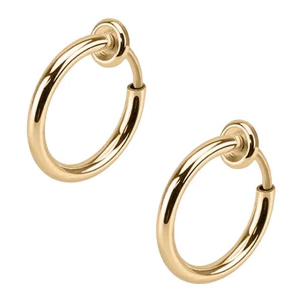 2-pack Guld Fake Piercing Utan Hål Näsring Septum Läppring guld
