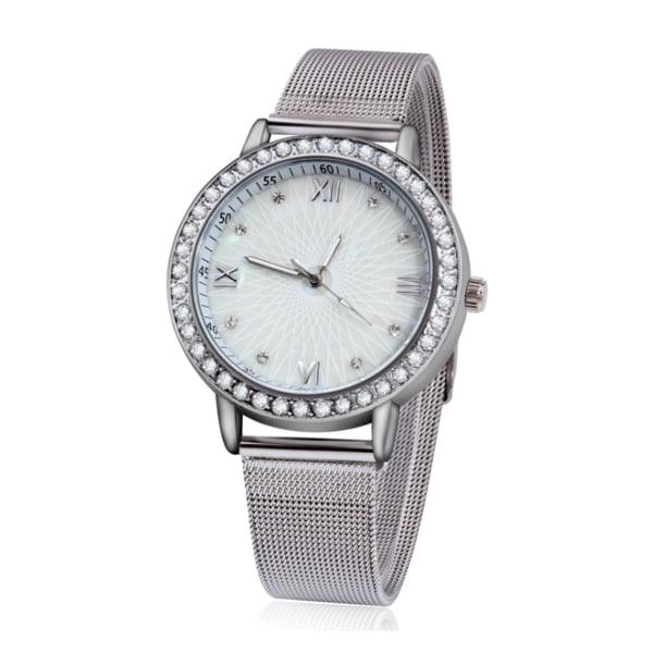 Elegant Silver Klocka med Mesh Armband Strass Kristaller silver