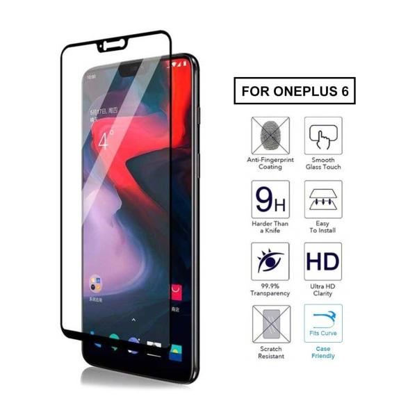 OnePlus 6 Heltäckande HD Skärmskydd Kolfiber Härdat Glas svart