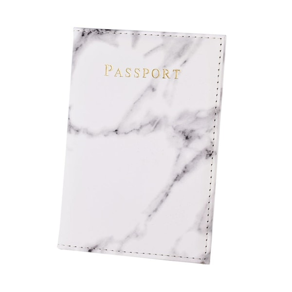 Passfodral Passhållare Vit Marmor Skinn Läder Guld vit