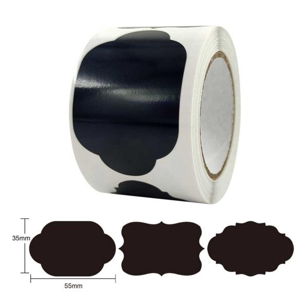 150st Retro Griffeletiketter Dekor för Burkar + Penna svart