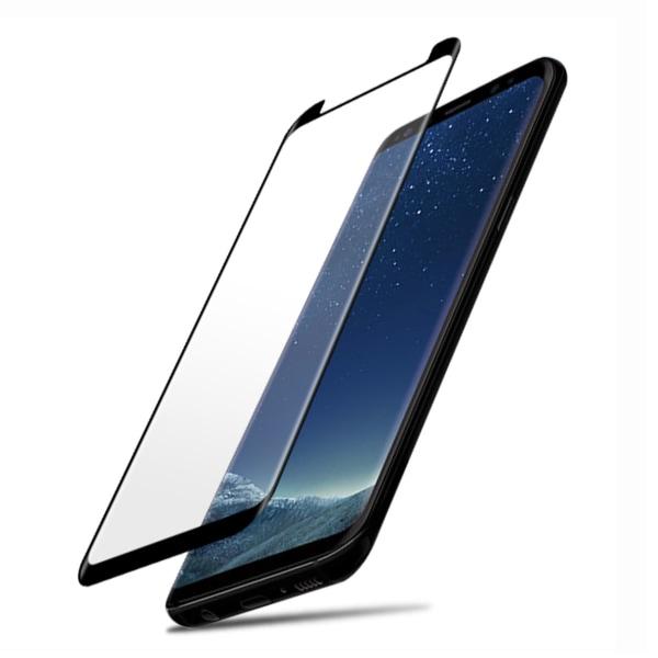 Galaxy S9 Plus 3D Curve HD Skärmskydd Kolfiber Härdat Glas svart