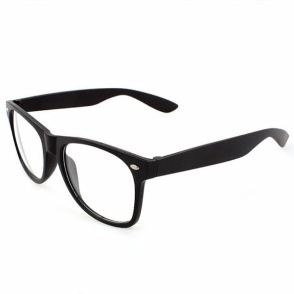 Retro Wayfarer Glasögon Svart Klart Glas utan Styrka svart