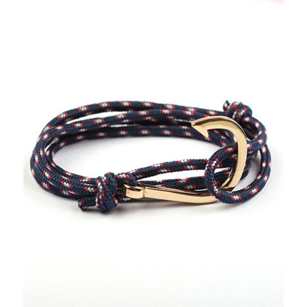 Marinblått Armband med Fiskekrok (Guld) blå