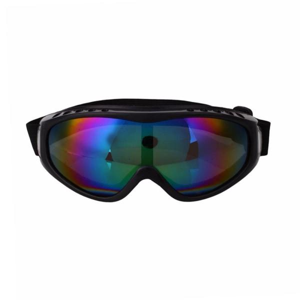Svarta Skidglasögon Spegelglas Regnbåge Goggles MC MX UV-Skydd svart