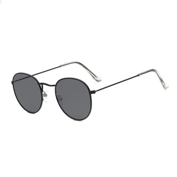 Runda Solglasögon Retro Svart Mörkt Glas svart