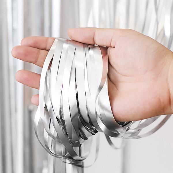 Metallic Silver Glitterdraperi för Fest Födelsedag silver