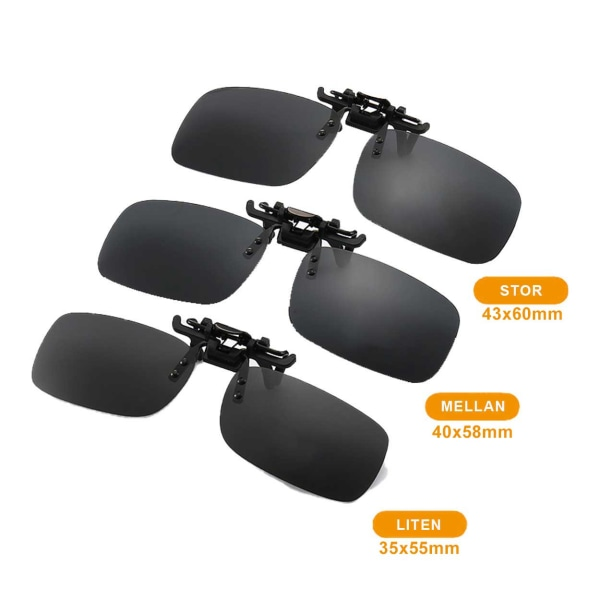 Clip-on Solglasögon Svart Glas 40x58mm svart