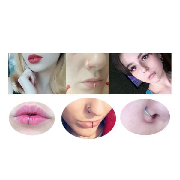 2-pack Svart Fake Piercing Läpp Näsring Septum Läppring utan Hål svart
