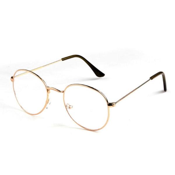Ovala Glasögon Roséguld Klart Glas utan Styrka Klarglasögon guld