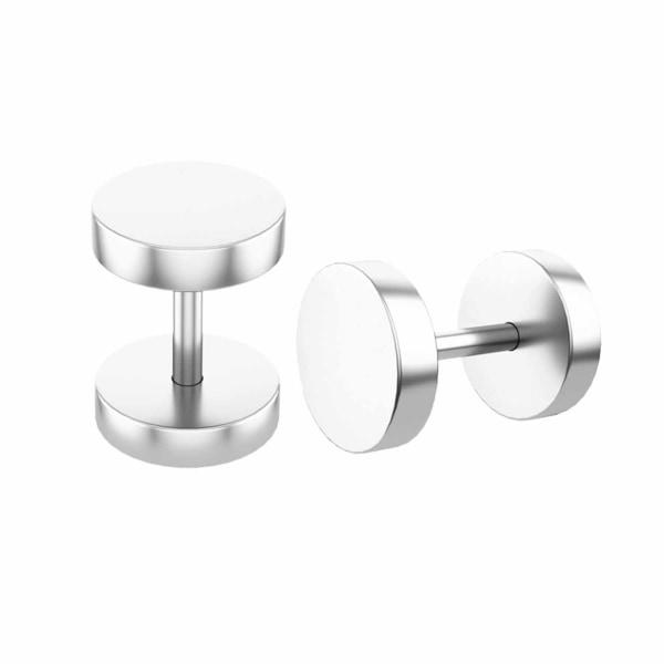 2-pack Fake Plug Fejk Töjning Örhänge Piercingsmycke Silver - silver