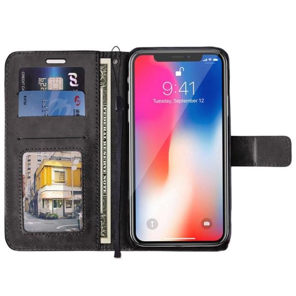 iPhone XR Plånboksfodral Svart Läder Skinn Fodral svart