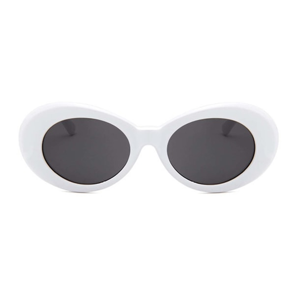 Vita Stora Runda Retro Solglasögon Svart Glas vit