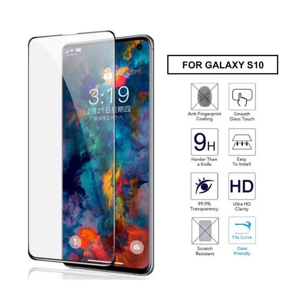 Galaxy S10 Heltäckande HD Skärmskydd Kolfiber Härdat Glas svart