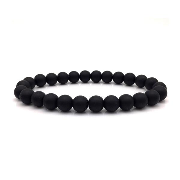 Trendigt Handgjort Armband Naturliga Svarta Stenar svart