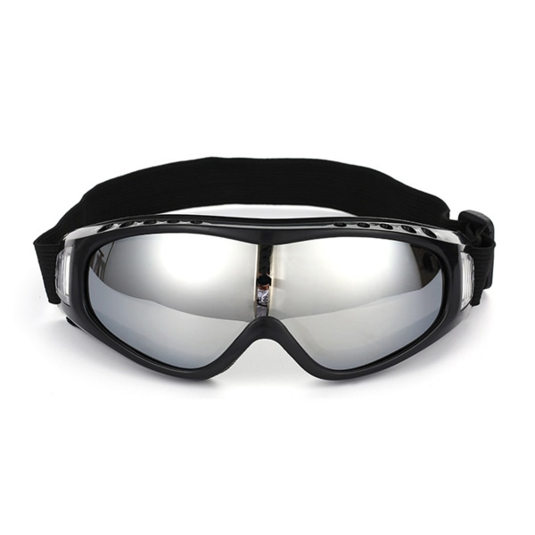 Svarta Skidglasögon Spegelglas Silver Goggles MC MX UV-Skydd silver
