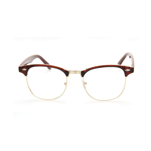 Retro Clubmaster Glasögon Brun/Guld Klart Glas utan Styrka brun