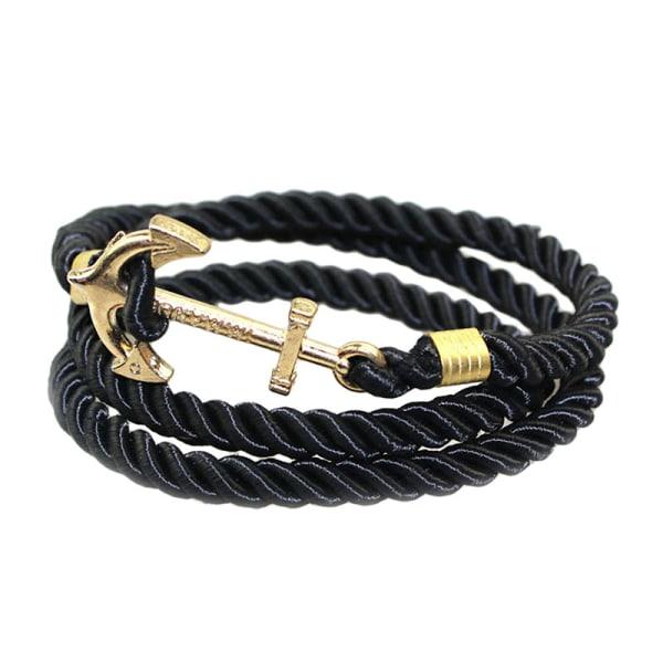 Trendigt Armband Rep med Ankare i Gul svart