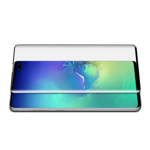 Galaxy S10e Heltäckande HD Skärmskydd Kolfiber Härdat Glas svart