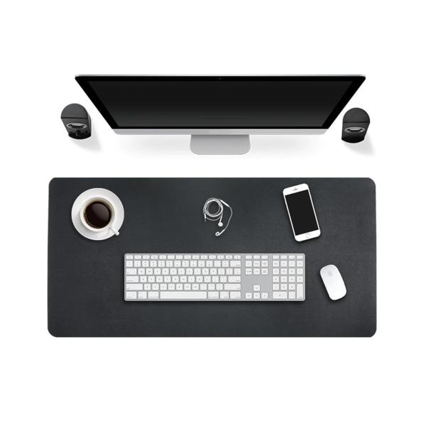 Svart Skrivbordsunderlägg 80x40cm Skinn Läder svart
