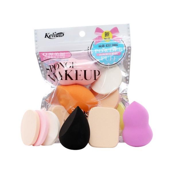 6-pack K-beauty Koreansk Sminksvamp Makeup Beauty Blender flerfärgad