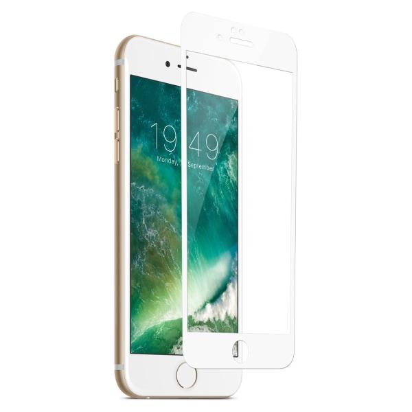 iPhone 7 HD Skärmskydd Kolfiber Härdat Glas Vit vit