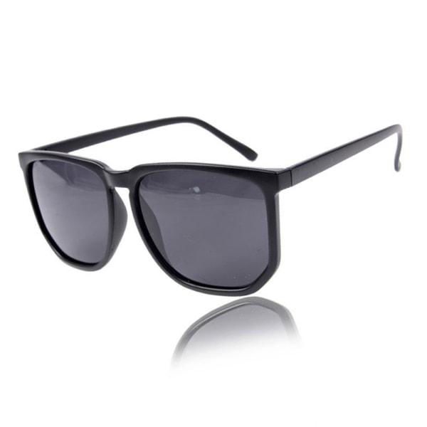 Svarta Stora Retro Solglasögon Svart Glas svart