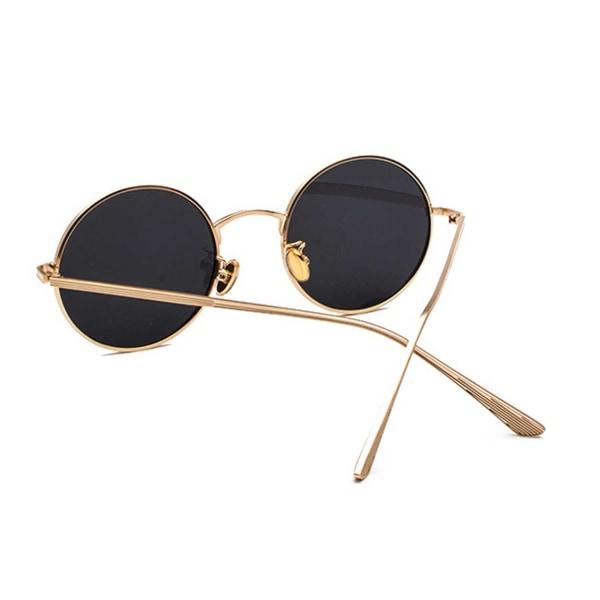 Runda Solglasögon Metall Guld Mörkt Glas guld
