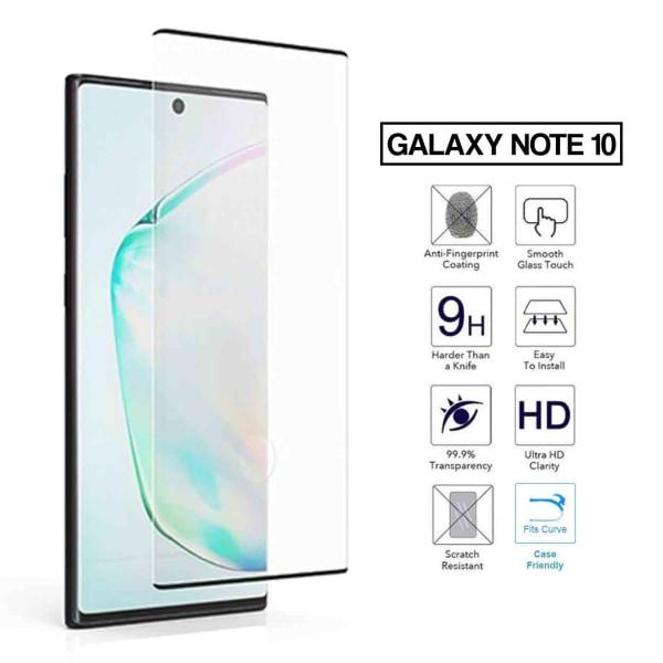 Galaxy Note 10 3D Curve HD Skärmskydd Kolfiber Härdat Glas svart