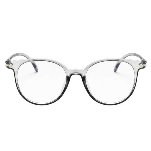 Genomskinliga Runda Glasögon Klart Glas utan Styrka Klarglas grå