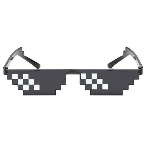 Svarta Thug Life Glasögon Meme Solglasögon Pixel svart