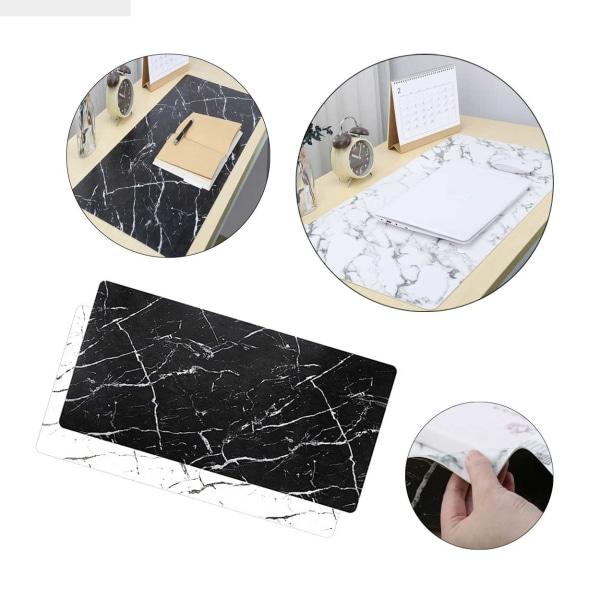 2-i-1 Vändbart Skrivbordsunderlägg 80x40cm Svart Vit Marmor vit
