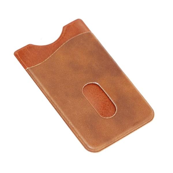 Brun Korthållare för Mobiltelefon i Skinn Läder (Självhäftande) brun