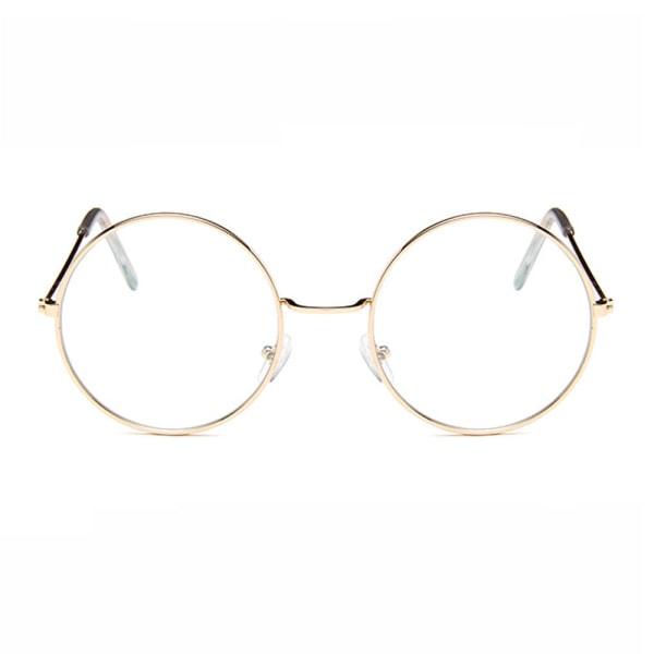 Stora Runda Glasögon Guld Klart Glas Guld guld
