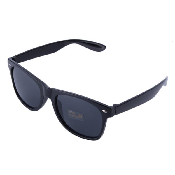 Retro Wayfarer Solglasögon Svarta Svart Glas svart