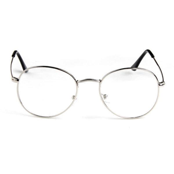 Ovala Glasögon Silver Metall Klart Glas utan Styrka Klarglasögon silver
