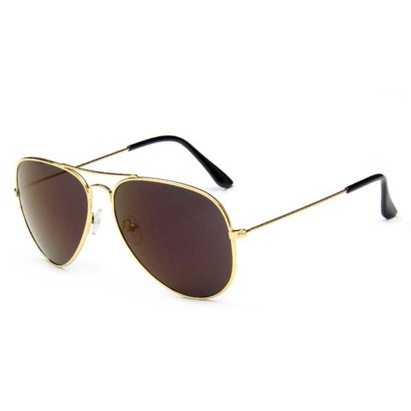 Guld Pilot Aviator Solglasögon Brunt Glas guld