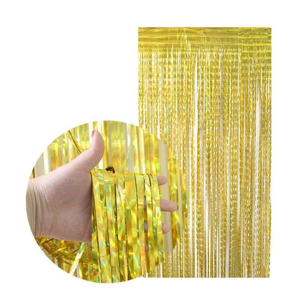 Metallic Guld Glitterdraperi för Fest Födelsedag guld