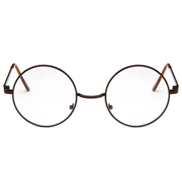Brons Bruna Runda Glasögon Klart Glas utan Styrka Klarglas brun