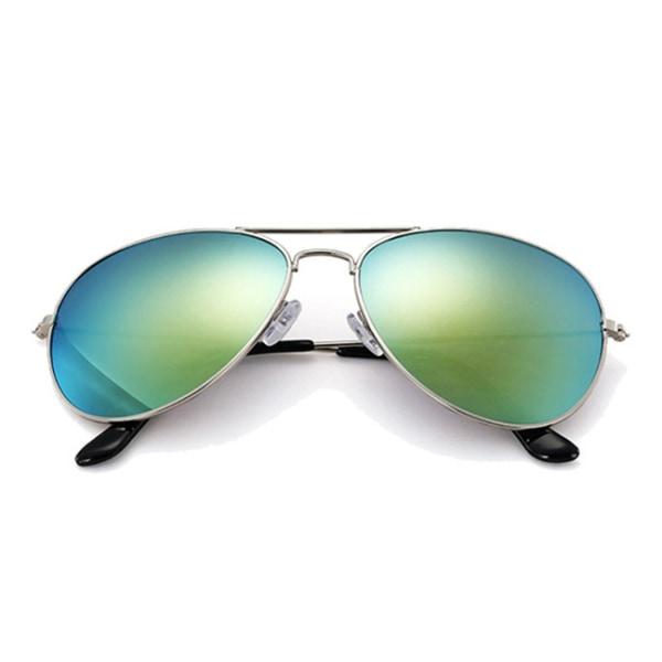 Guld Pilot Aviator Solglasögon Spegelglas silver