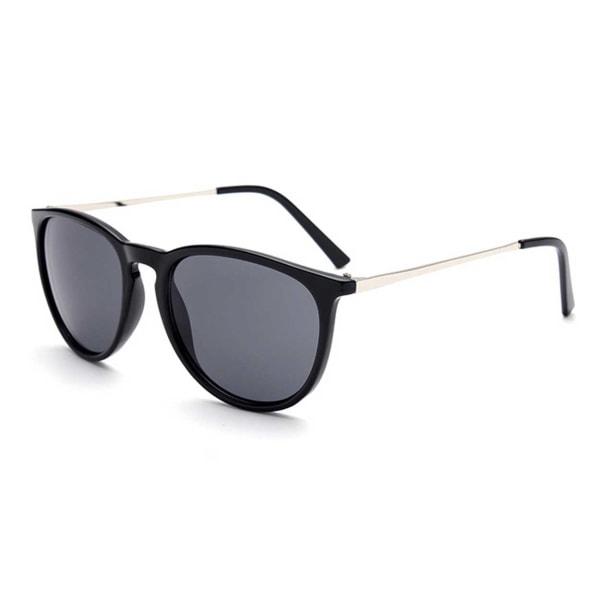 Retro Solglasögon Blank Svart Mörkt Glas svart