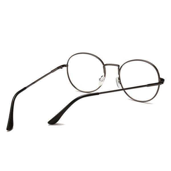 Retro Runda Ovala Glasögon Grå Klart Glas utan Styrka grå
